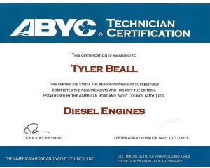 ABYC Diesel Engines - Tyler Beall (1) Certifications for Marine Electronics, Awlgrip Paint & More- Annapolis MD
