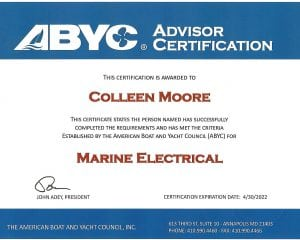 ABYC Marine Electrical - Colleen Moore (1) Certifications for Marine Electronics, Awlgrip Paint & More- Annapolis MD