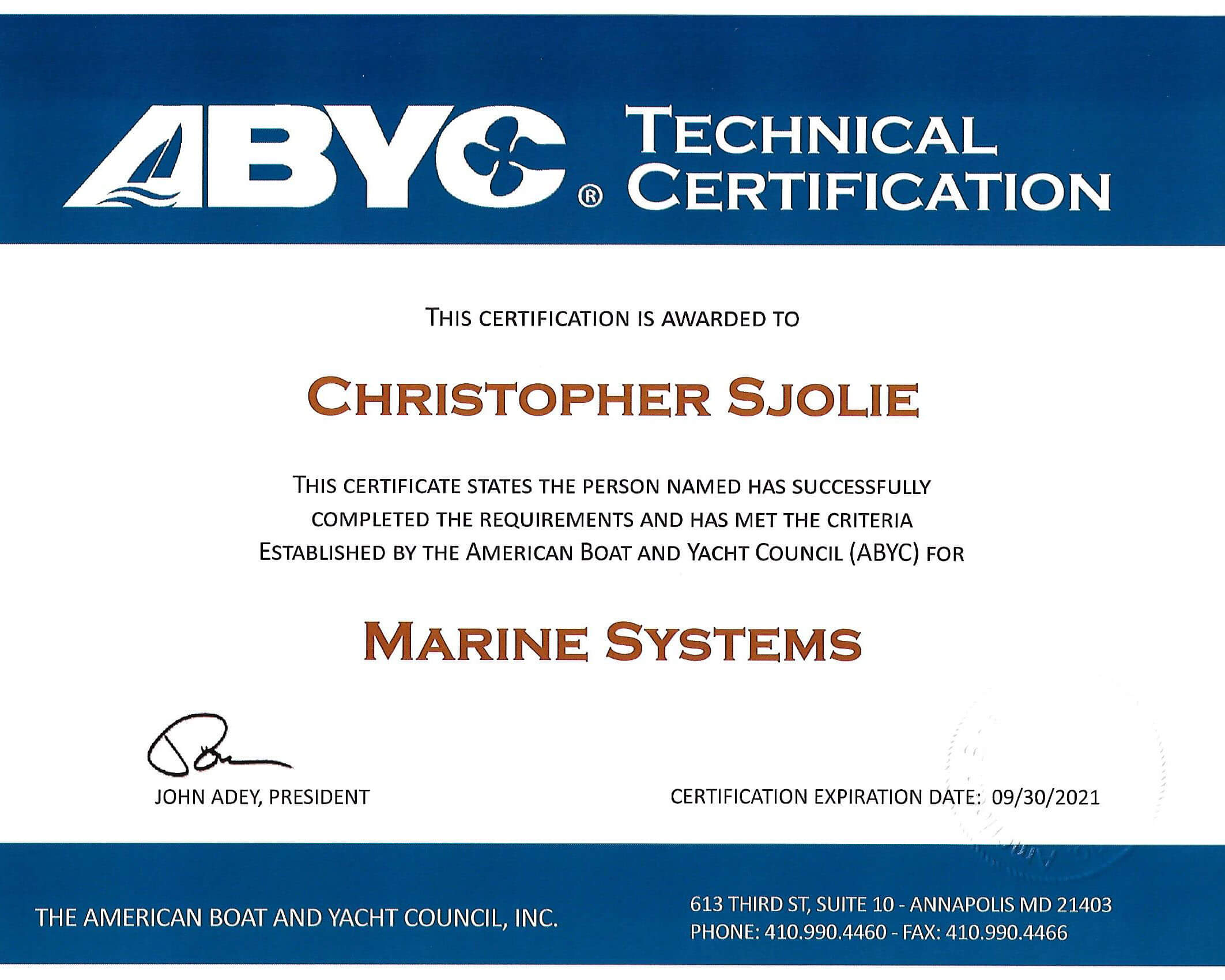 Certificationsoem Training In Annapolis Md Nmea Epa Abyc