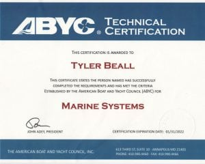 ABYC Marine Systems - Tyler Beall (2017-01-31) (1) Certifications for Marine Electronics, Awlgrip Paint & More- Annapolis MD
