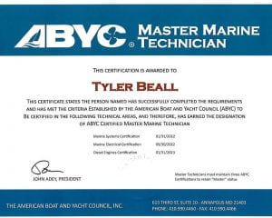 ABYC-Master-Marine-Tech---Tyler-Beall Certifications for Marine Electronics, Awlgrip Paint & More- Annapolis MD