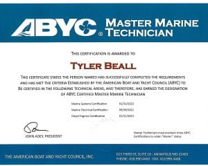 ABYC Master Marine Tech - Tyler Beall Certifications for Marine Electronics, Awlgrip Paint & More- Annapolis MD