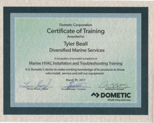 Dometic-Marine-HVAC---Tyler-Beall--(2017-03-16) Certifications for Marine Electronics, Awlgrip Paint & More- Annapolis MD
