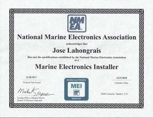 NMEA-MEI---Jose-Lahongrais-(2018-01-08) Certifications for Marine Electronics, Awlgrip Paint & More- Annapolis MD